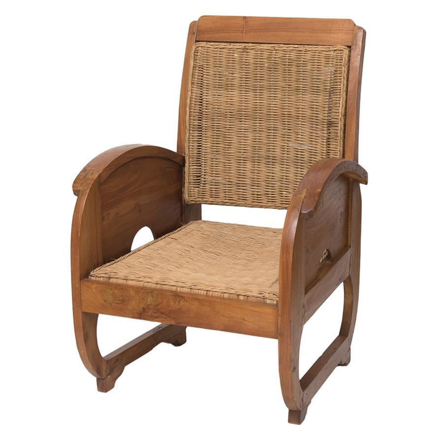 Art deco houten fauteuil met rotan zitting vount vintage - Houten deco ...