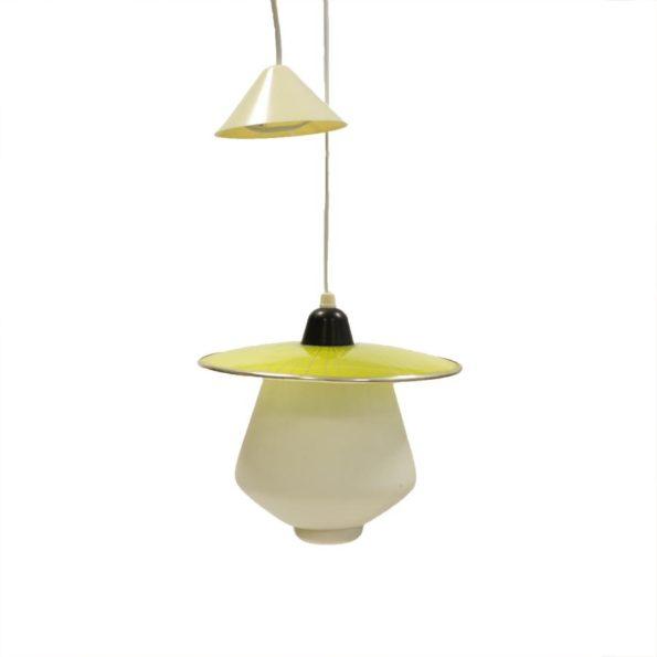 Jaren '50 Philips-hanglamp met gele glazen kap