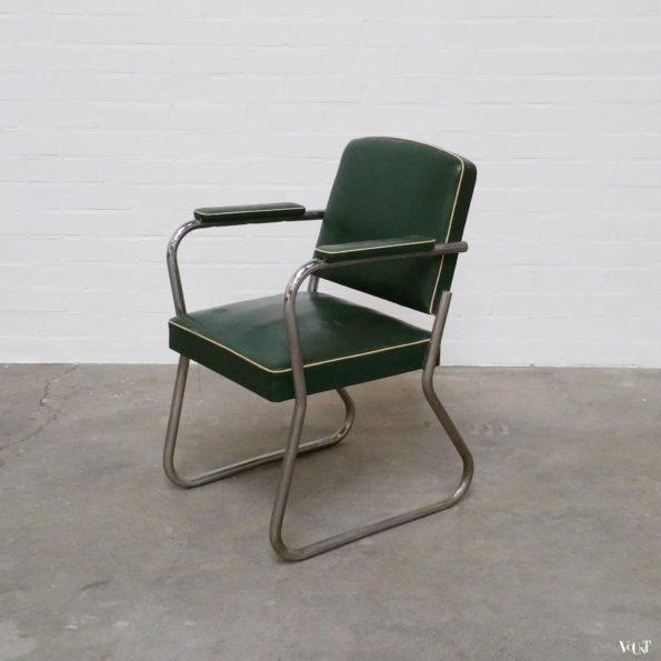 Jaren '30 buisframe-bureaustoel groen skaileer