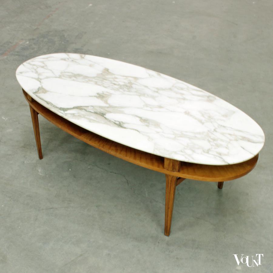 Vintage salontafel met marmeren blad, Hohnert Stil M u00f6bel