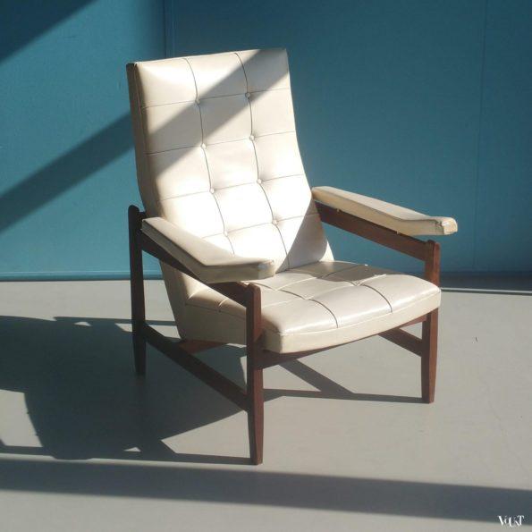 Jaren '50/'60 skaileren fauteuil met teakhouten frame