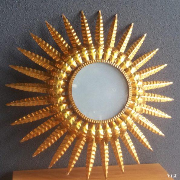 Vintage vergulde sunburst plafondlamp / wandlamp, jaren '50
