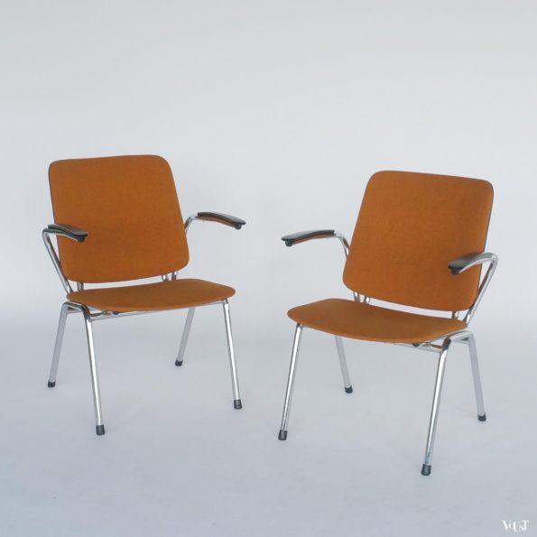 Set van 2 oranje vintage stoelen, Jami, jaren '70