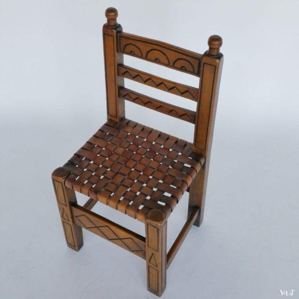 Spaans stoeltje met geweven leren zitting, jaren '60
