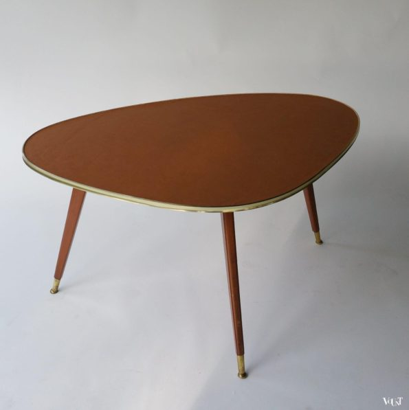 Jaren '50 salontafel met leren tafelblad