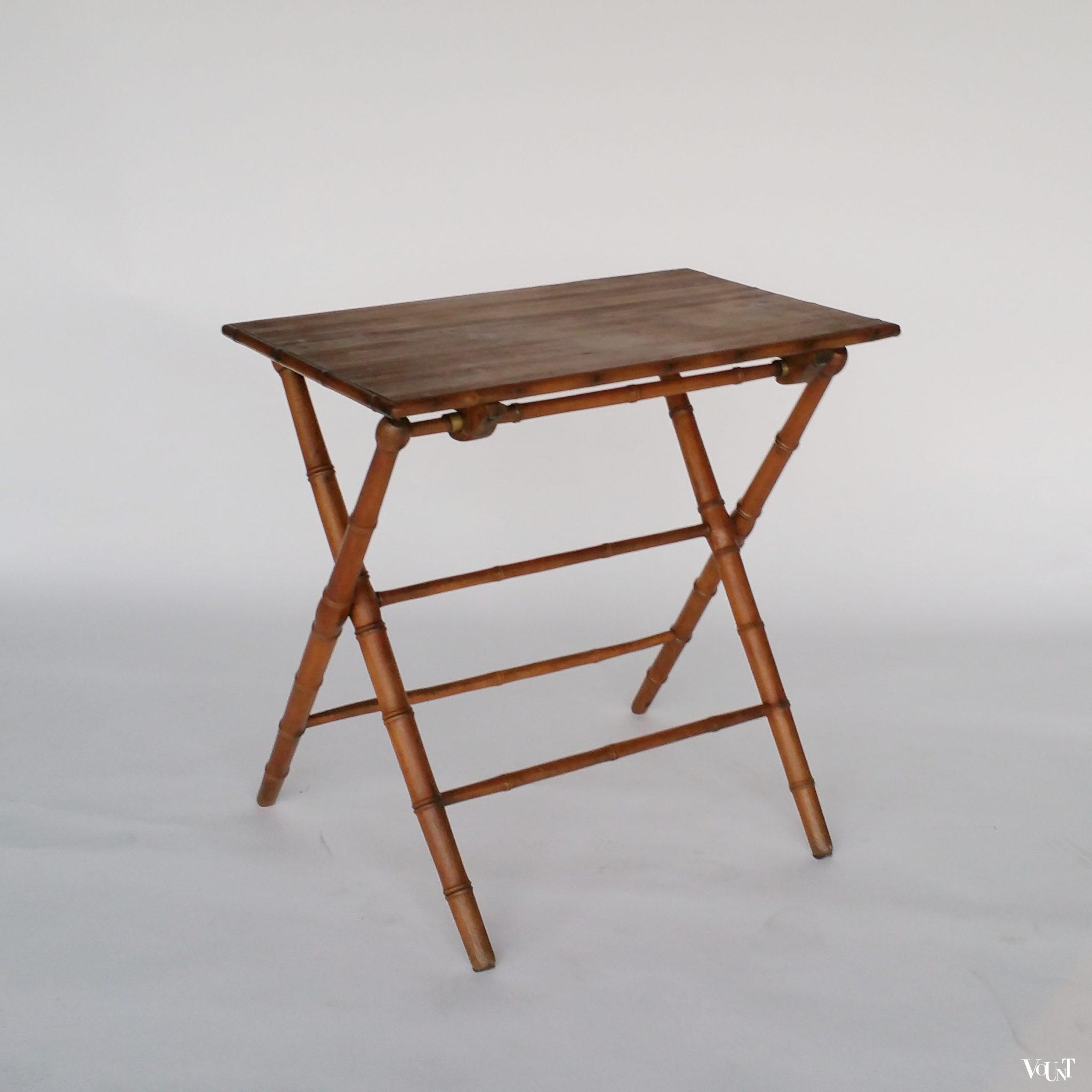 Vintage franse houten faux bamboo klaptafel - Tafel tv vintage ...