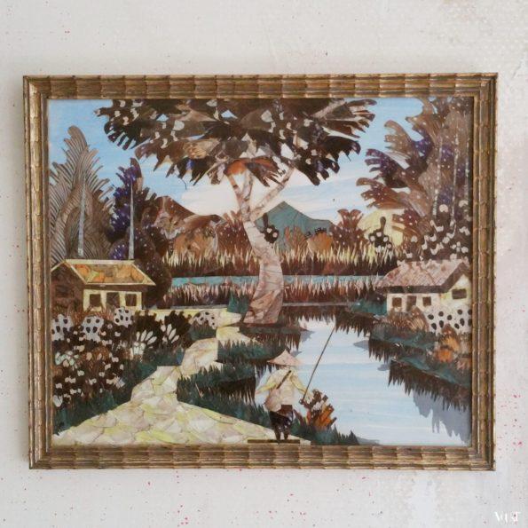 """Vintage Aziatisch """"schilderij"""" met vlindervleugels"""
