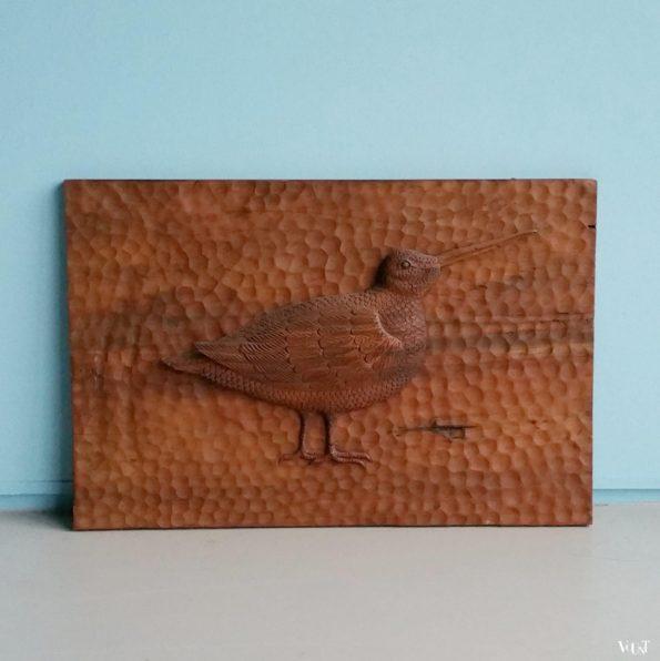 Vintage handgestoken houten paneel met snip