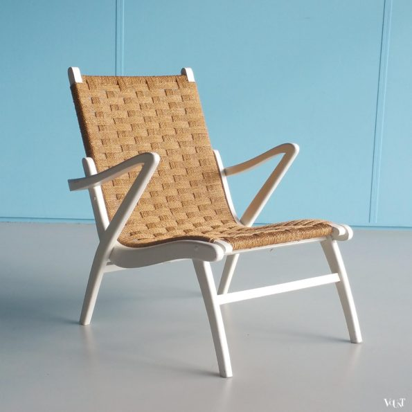 Vintage fauteuil hout met touw, attr. Gispen, jaren '40