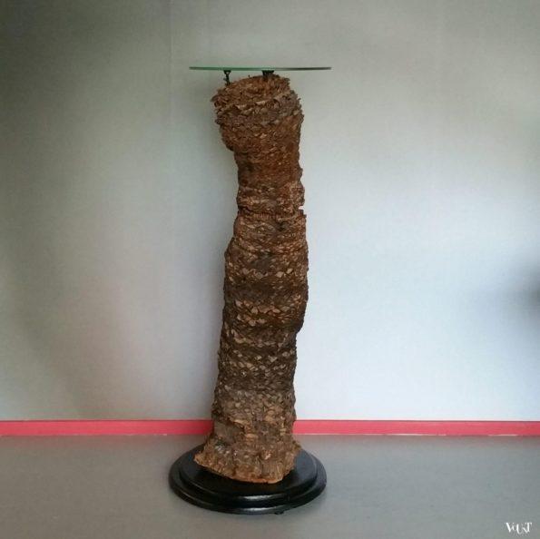 Pied de stalles Cycas palmvoet met glazen plateau, jaren '80
