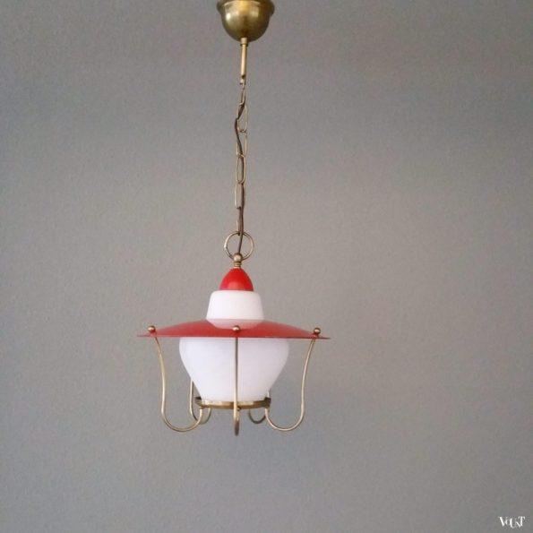 Jaren '50 hanglamp met rode metalen kap