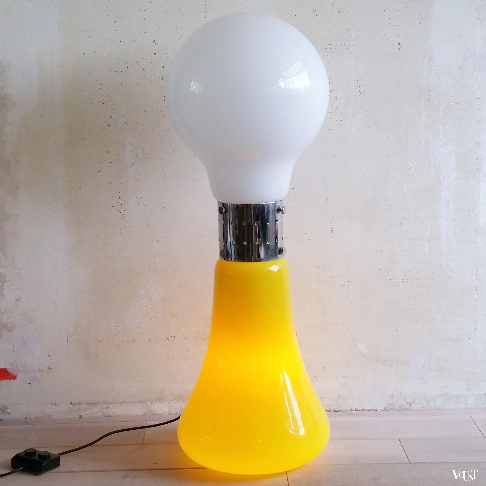 birillo vloerlamp wit en geel murano glas carlo nason. Black Bedroom Furniture Sets. Home Design Ideas