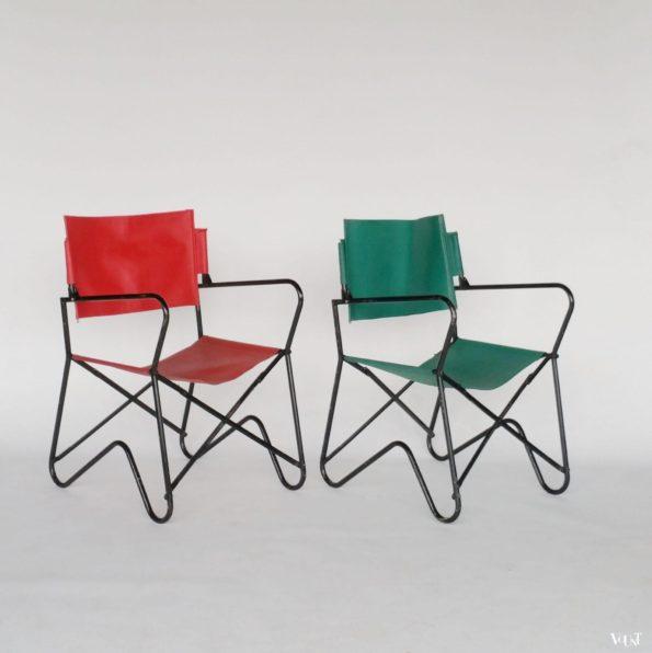 Set van 2 jaren '50 Franse campingstoeltjes