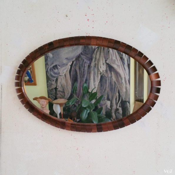 Scandinavische spiegel met teakhouten blokjes, jaren '60