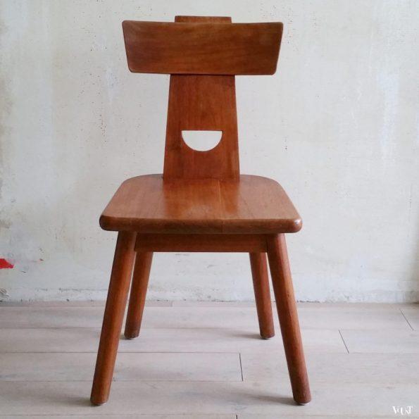 Brutalistische houten stoel, jaren '60/'70