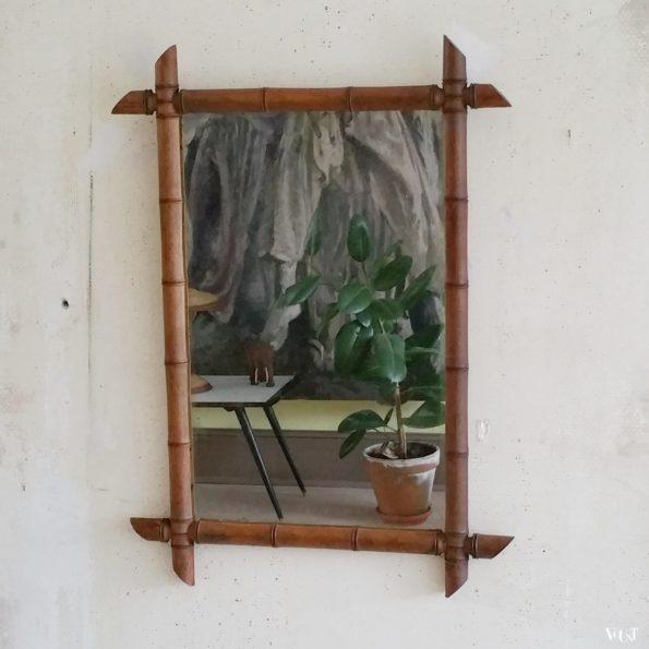 Vintage Franse faux bamboo wandspiegel