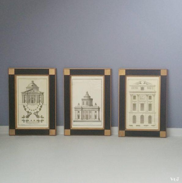 Set van 3 prints van gravures van J.F. de Neufforge in houten lijsten