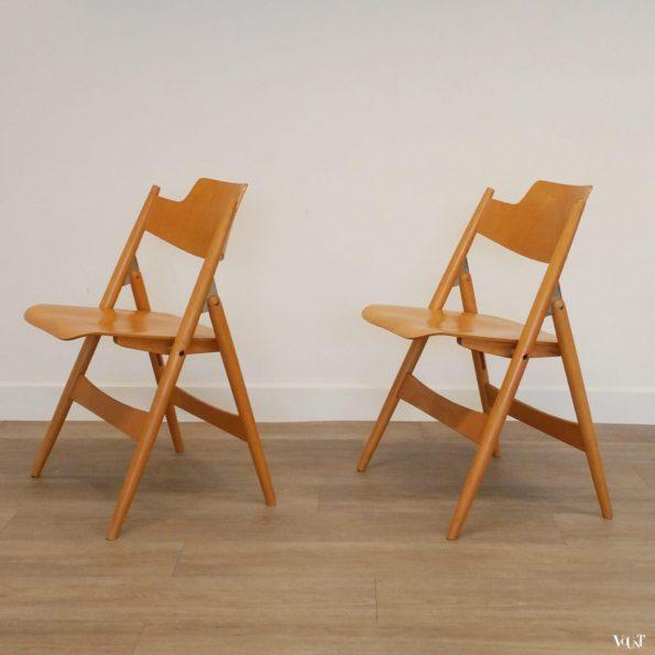 2 vintage beukenhouten SE 18 klapstoelen, Egon Eiermann voor Wilde und Spieth, jaren '50