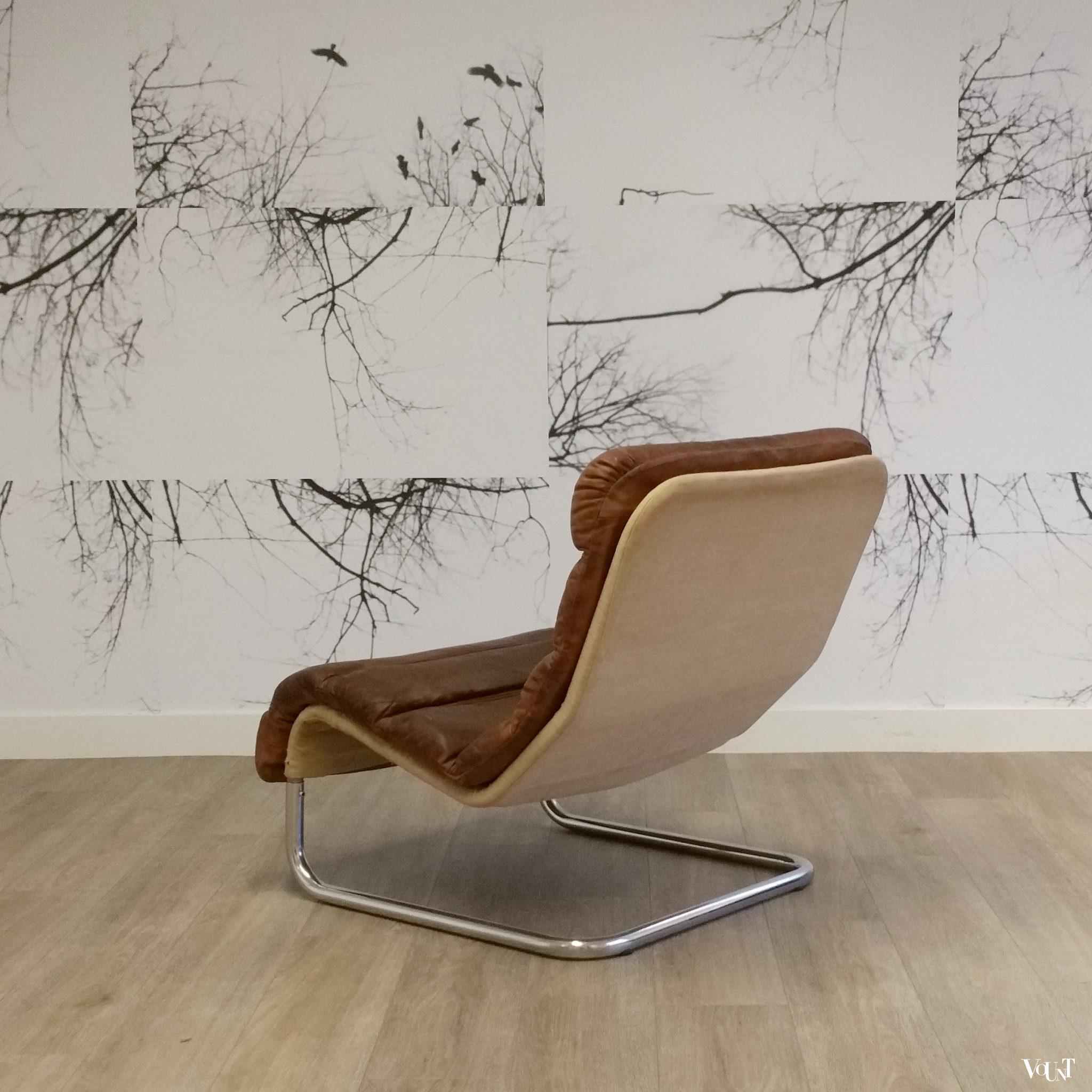 Spiksplinternieuw Buisframe fauteuil met leren bekleding, jaren '60/'70 CQ-77