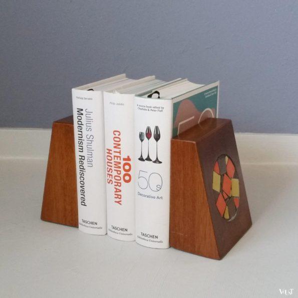 Vintage houten boekensteunen met mozaïek, jaren '50/'60
