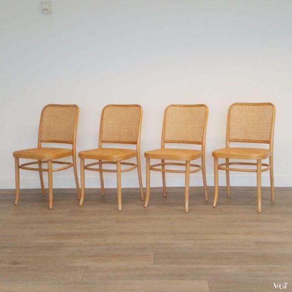 Set van 4 beukenhouten bentwood stoelen met rotan webbing, jaren '70