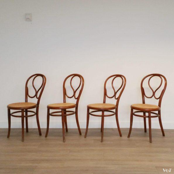 Set van 4 originele Thonet-stoelen nr. 20, eind 19e eeuw
