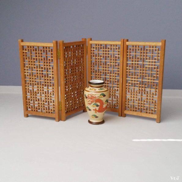 Aziatisch houten vensterbankscherm, jaren '70