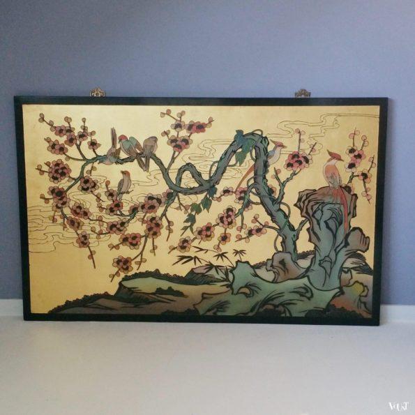Aziatisch houten wandpaneel met bladgoud, jaren '70/'80