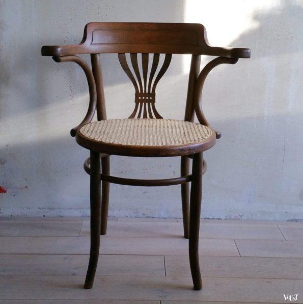 Bureaustoel met rotan zitting, nr. 8 E, Fischel, rond 1915