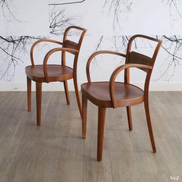 Set van 2 art deco houten Thonet-stoelen, jaren '30