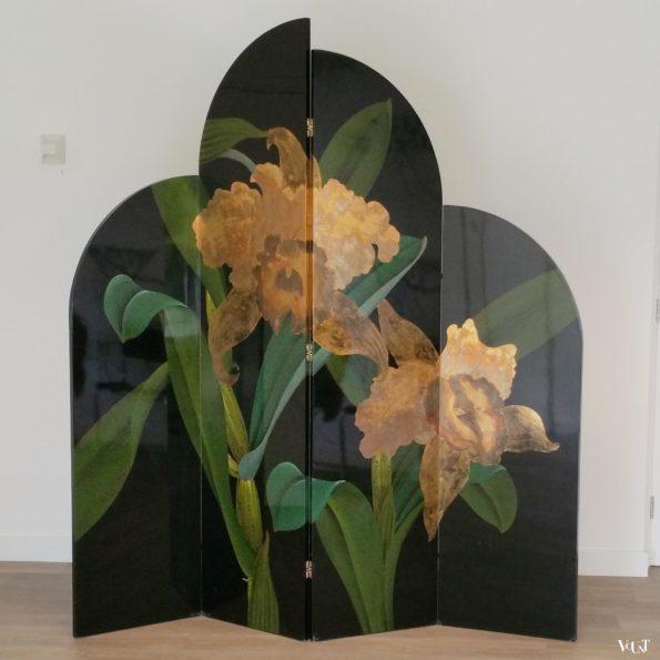 Gelakt kamerscherm met floraal motief, jaren '80