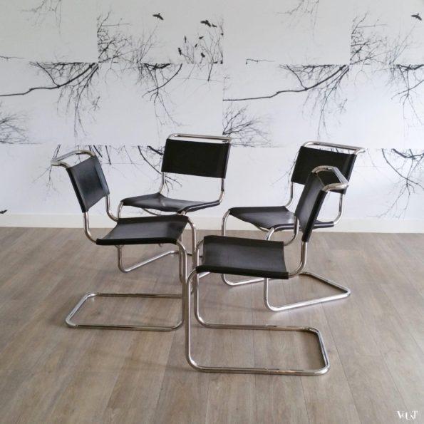 Set van 4 jaren '80 originele S33 stoelen, Mart Stam voor Thonet