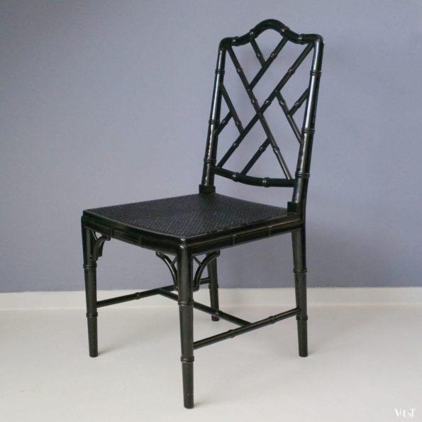 Zwarte faux bamboo Chippendale stoel, jaren '70