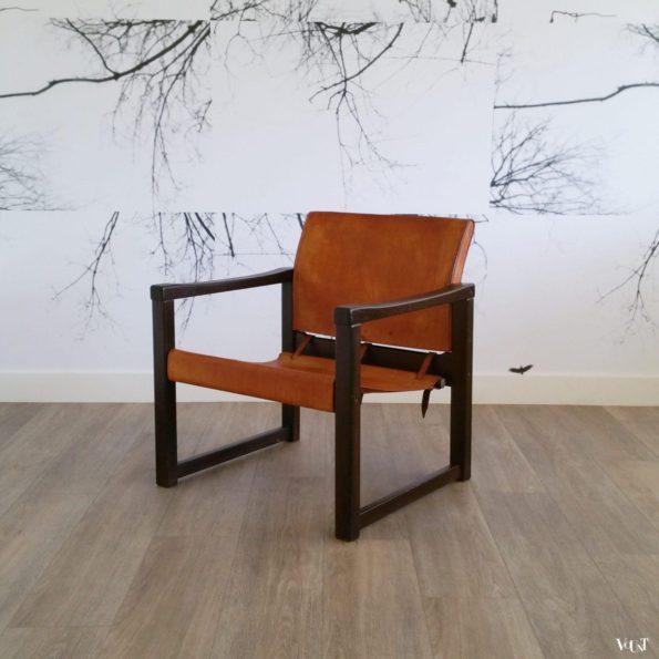 """Leren safaristoel """"Diana"""", Karin Mobring voor Ikea, Zweden, jaren '70"""