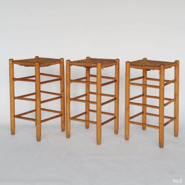 Set van 3 midcentury krukken met biezen zitting, jaren '60