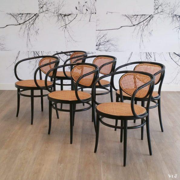 Set van 6 originele Thonet-stoelen nr. 210, 2001