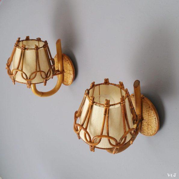 Set van 2 Franse rotan wandlampjes, jaren '50