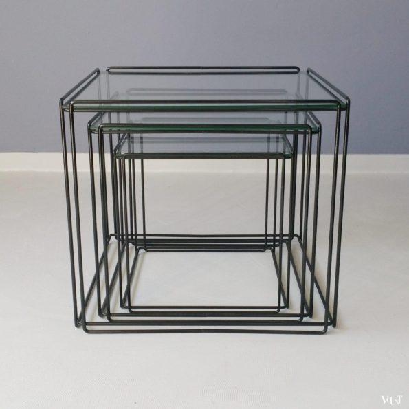 Set van 3 kubusvormige Isocele bijzettafeltjes van Max Sauze, jaren '70