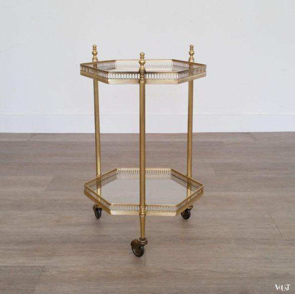 Kleine zeshoekige messing trolley / bar cart, jaren '60