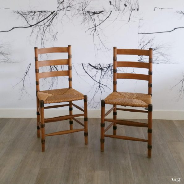 Set van 2 art deco stoelen met biezen zitting, ca. jaren '30