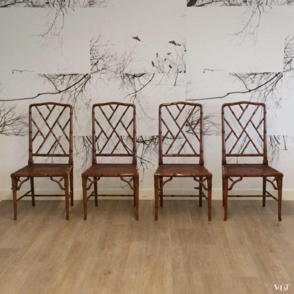 Set van 4 faux bamboo Chippendale stoelen, jaren '70