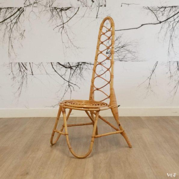 Design rotanstoel met hoge rug, Rohé Noordwolde, jaren '60