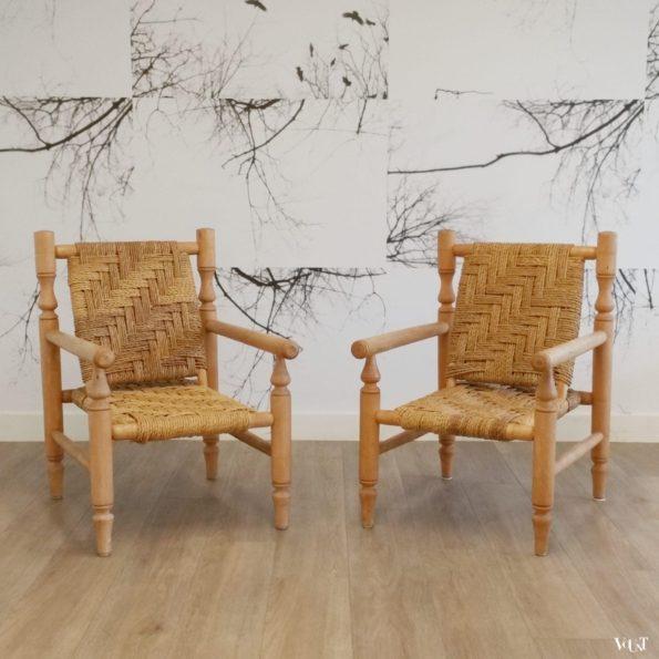 Set van 2 lage fauteuils hout en touw, jaren '60/'70