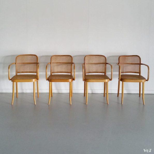 Set van 4 Praag of 811 stoelen, Ligna, Tsjecho-Slowakije, jaren '60