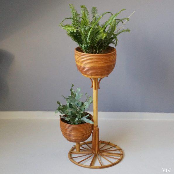 Rotan plantenstandaard voor 2 planten, jaren '60