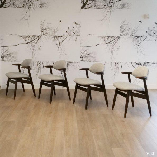 Set van 4 koehoorn stoelen, Tijsseling voor Hulmefa Nieuwe Pekela, jaren '60 (nieuwe bekleding)