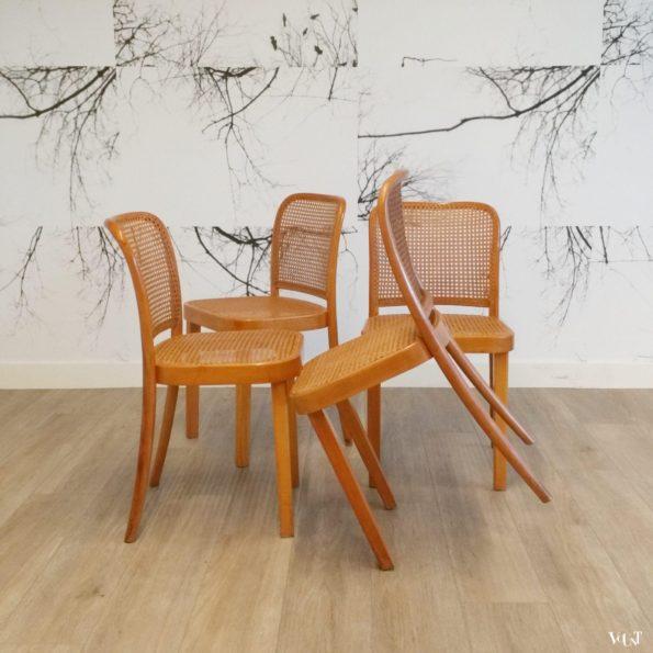 Set van 4 Praag of 811 stoelen, Thonet, Tsjecho-Slowakije,  eind jaren '40