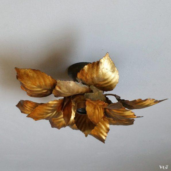 Plafondlamp met gouden bladeren, jaren '60