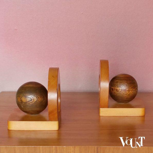 Set van 2 houten boekensteunen in art deco-stijl