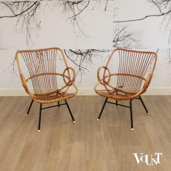 Set van 2 rotan stoeltjes, Rohé Noordwolde, jaren '60